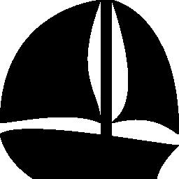 ヨットの黒いシルエット無料アイコン