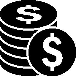 ドルのコイン スタック無料アイコン