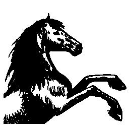 馬のスケッチ調達フィート右に直面している無料のアイコン