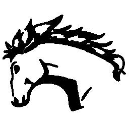 荒れ狂うヘッド シルエット バリアントの無料のアイコンを持つ馬