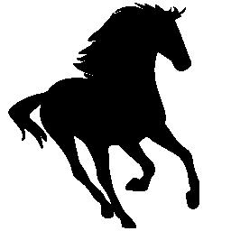 馬の実行中のシルエットに直面して右無料アイコン