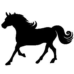 巻き毛の鬣のシルエットの無料のアイコンを持つ馬