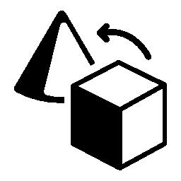 円錐形のアウトラインをキューブから幾何学的図形の変換無料のアイコン