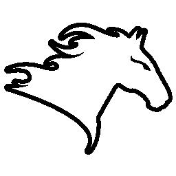 馬の頭を右に直面してバリアントの無料アイコンを概要します。