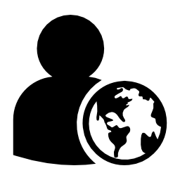 地球のシンボルの無料のアイコンを持つプロファイル ユーザー