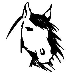 馬顔正面スケッチ無料アイコン