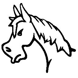 怒っている馬顔側ビュー概要無料アイコン