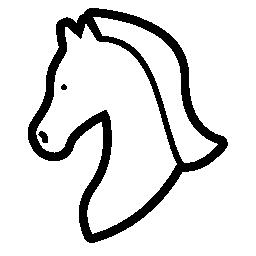 左の無料アイコンが直面している馬ヘッド アウトライン