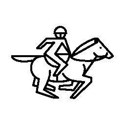 レーサーのサドル概要無料アイコンで馬の実行