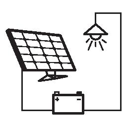 光接続バッテリーとソーラー パネルの無料アイコン