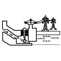 水力発電電力線無料アイコン