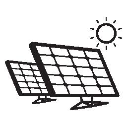 太陽電池パネル カップル日光無料アイコン