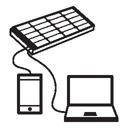 携帯電話とラップトップの太陽電池パネルの無料のアイコンを充電