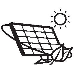 日光無料アイコンでエコ太陽電池パネル