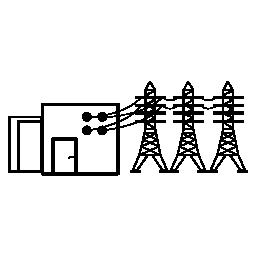 電力線無料アイコンの付いた電源ハウジング
