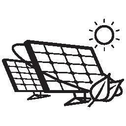 日光無料アイコンで生態学的な太陽電池パネルのカップル