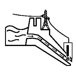 生産の無料アイコンの下の水力発電所