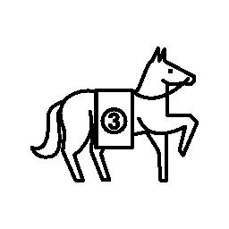 馬の 1 つの正面徒歩無料アイコンを持ち上げる