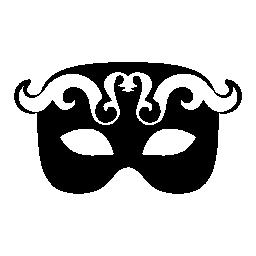 カーニバル目マスク白と黒で装飾無料アイコン