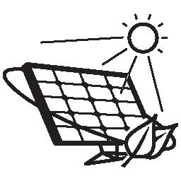 無料のアイコンを明るい太陽の下でエコ太陽電池パネル