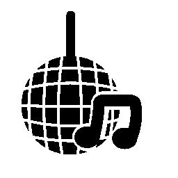 音符シンボル無料アイコンが付いている小さいミラーのディスコ ボール