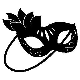 彼女の目の無料アイコンをカバーする女性のための葉を持つカーニバル マスク