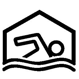 スイミング プール シンボル無料アイコン覆われています。