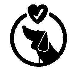 ペット犬とハートの無料アイコン内部検証符号のホテル円形シンボル