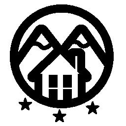 山の 3 つの星のロゴの田舎ホテル無料のアイコン