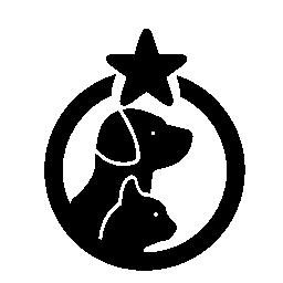 1 つの星の無料アイコンの付いた円で猫と犬ペット ホテル シンボル