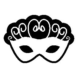 カーニバル マスク、らせん状に黒と白の無料アイコン