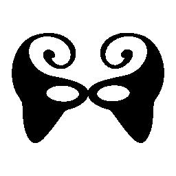トップと小さな目穴無料アイコンを 2 つの大きならせん状カーニバル マスクの黒の形状