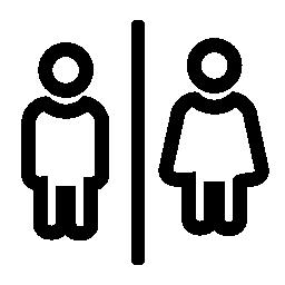 男性と女性の輪郭のためのバスルーム署名無料アイコン