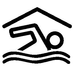 スイマー水泳インテリアで覆われたスイミング プール無料アイコン