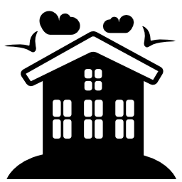 鳥と雲の無料のアイコンと農村ホテル ハウス
