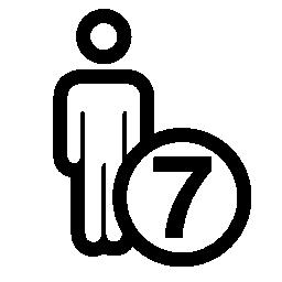 7 人または人 7 番記号アウトライン無料アイコン