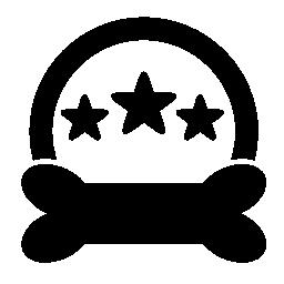 ペットの 3 つ星ホテルのシンボル、半円と黒骨形状の無料アイコン