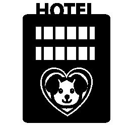 ペット付きホテル棟ハート形の無料アイコンの犬画像