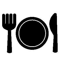 プレートのフォークおよびナイフの無料アイコン