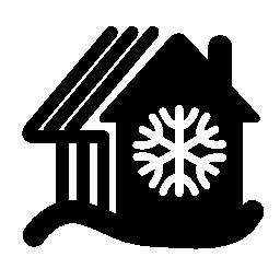 雪の山の無料アイコンを農村部のホット コテージ