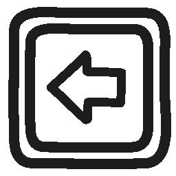 矢印の付いた左ボタン手描き下ろしシンボル無料アイコン