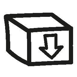 手に下向き矢印記号でボックス描画シンボル無料アイコン