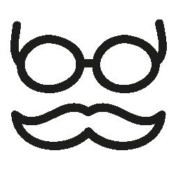 口ひげとメガネ手描かれたアウトライン無料アイコン