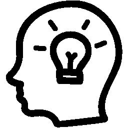 アイデア手無料のアイコン内の電球と側頭部の描画記号