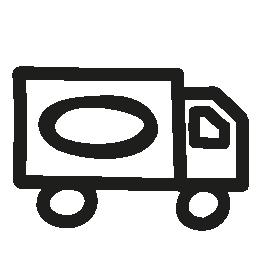 トラック手描き下ろしトランスポート無料アイコン