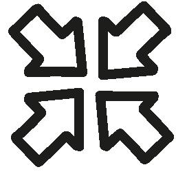 4 つの矢印の手描かれたアウトライン無料アイコンの参加します。