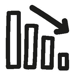 ダウン ビジネス グラフィック手描き下ろしシンボル無料アイコン