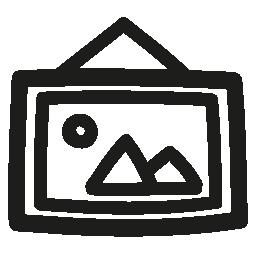 フレーム手描き下ろしシンボル無料アイコンにぶら下がって写真