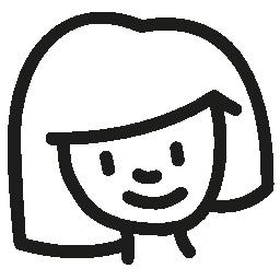 女性若い頭手描き下ろし概要無料アイコン