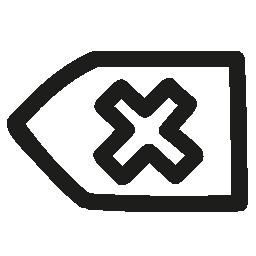 クロス無料アイコンの付いた矢印手描き下ろしシンボル アウトラインを元に戻す